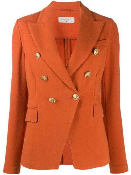 Оранжевый удлиненный пиджак двубортный на пуговицах Circolo 1901