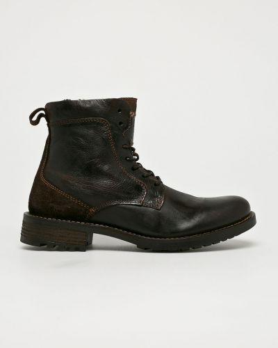 Кожаные ботинки высокие темно-коричневый Mustang