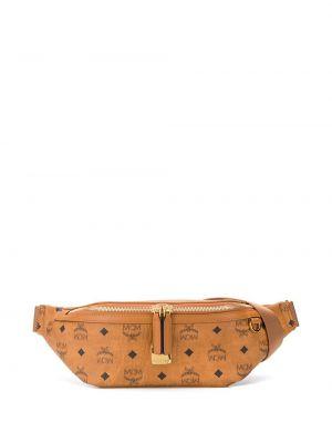 Поясная сумка с логотипом - коричневая Mcm