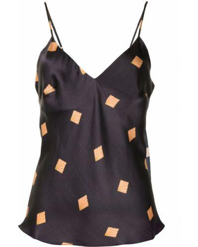 Черная шелковая пижама с вырезом Gilda & Pearl