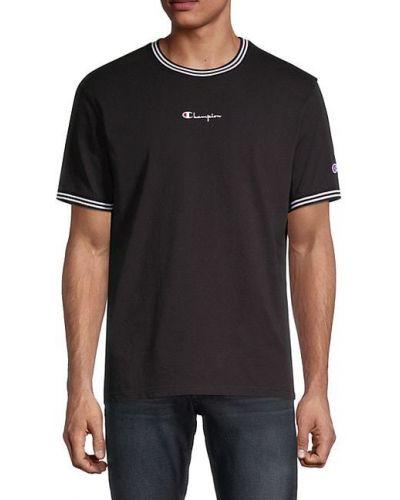 Черная футболка в полоску с вышивкой Champion