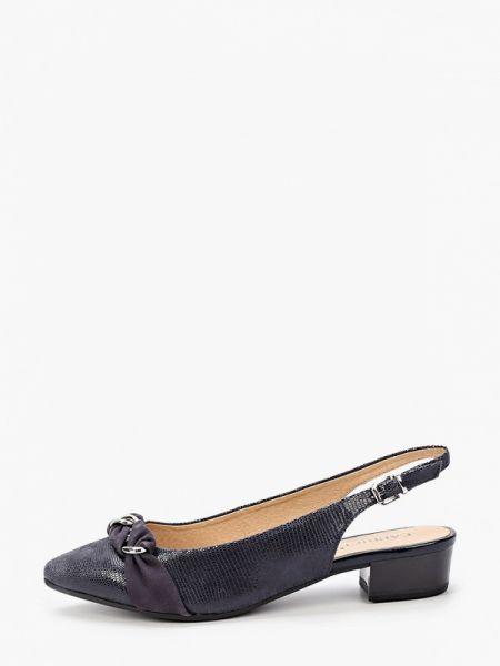 Кожаные туфли с открытой пяткой синий Caprice
