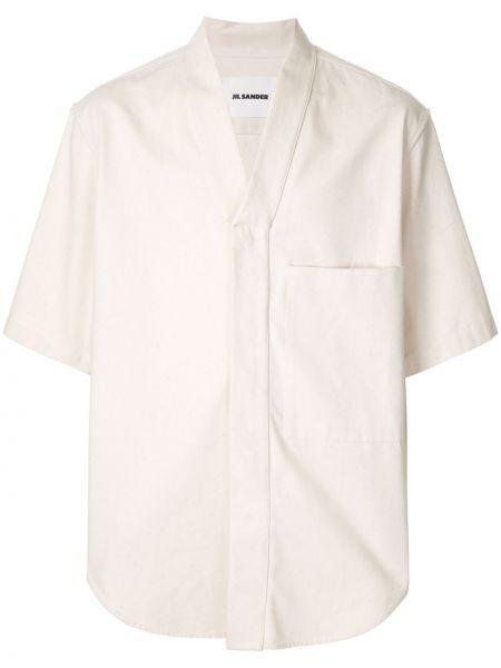 Koszula krótkie z krótkim rękawem z kieszeniami z nadrukiem Jil Sander