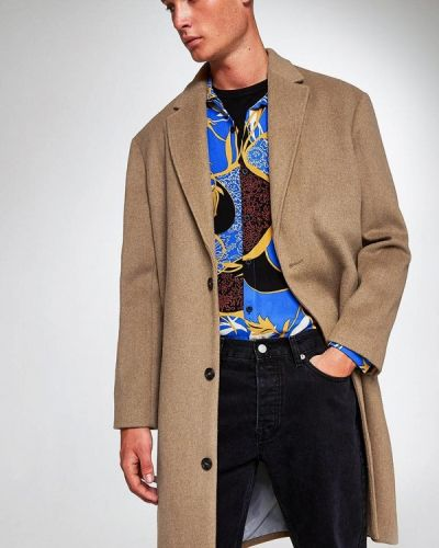 Бежевое пальто осеннее Topman