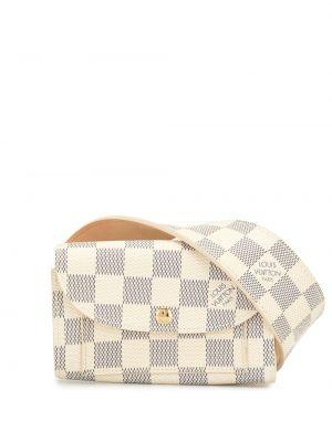 Кожаная белая поясная сумка винтажная Louis Vuitton