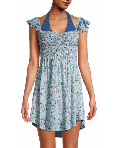 Синее платье мини в цветочный принт Tiare Hawaii