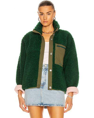 Зеленая кожаная куртка с карманами Sandy Liang