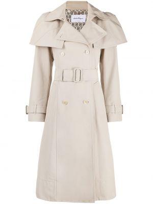 Бежевое кожаное длинное пальто двубортное Salvatore Ferragamo