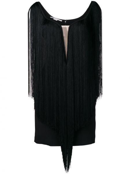 Czarna sukienka koktajlowa asymetryczna z frędzlami Stella Mccartney