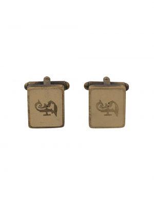 Золотистые запонки золотые квадратные Gianfranco Ferre Pre-owned