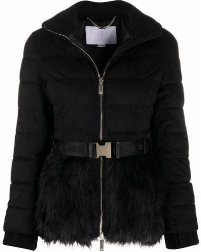 Акриловая черная стеганая куртка на молнии в рубчик Elisabetta Franchi