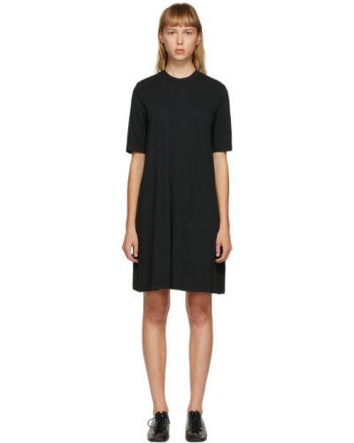 Хлопковое черное платье с воротником с короткими рукавами Raquel Allegra