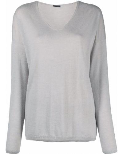 Кашемировый серый джемпер с V-образным вырезом Iris Von Arnim