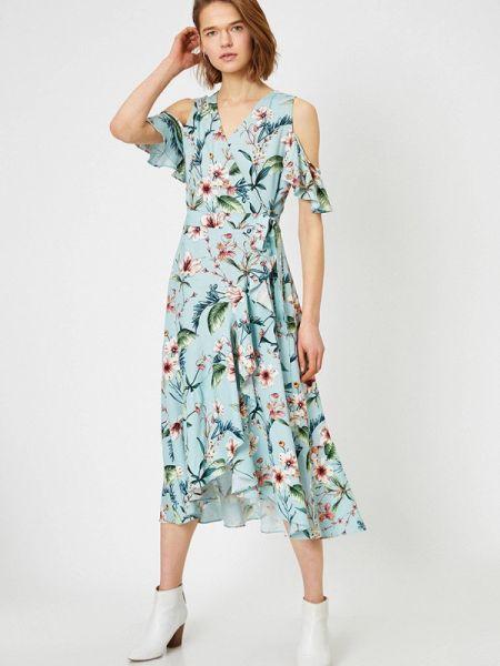Однобортное бирюзовое платье Koton