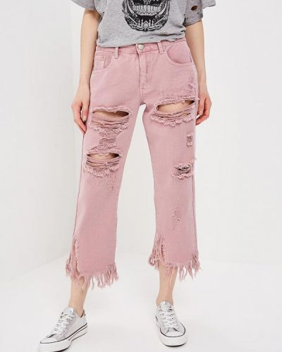 Розовые рваные джинсы Glamorous