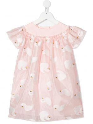 Różowa sukienka mini rozkloszowana krótki rękaw Charabia