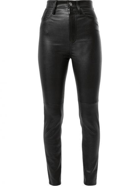 Кожаные черные укороченные брюки с поясом скинни Jitrois