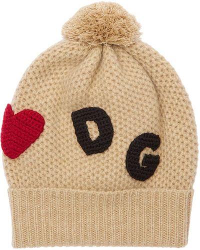 Beżowy wełniany kapelusz Dolce And Gabbana