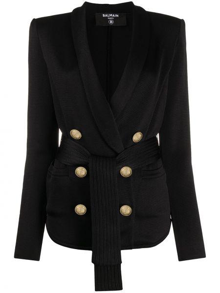Куртка черная на пуговицах Balmain
