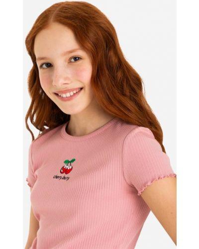 Прямая футболка с вышивкой с вырезом Gloria Jeans