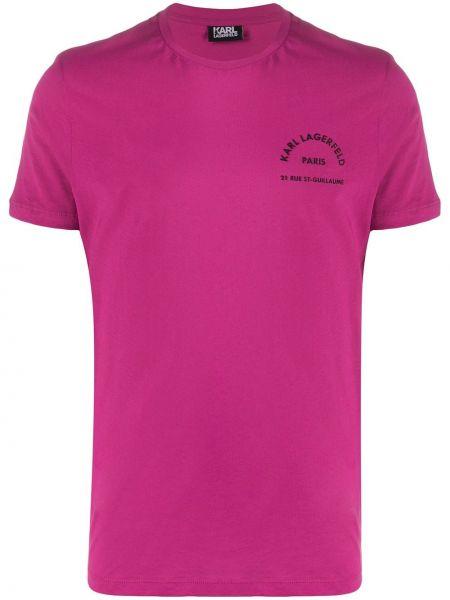 Koszula krótkie z krótkim rękawem prosto z nadrukiem Karl Lagerfeld