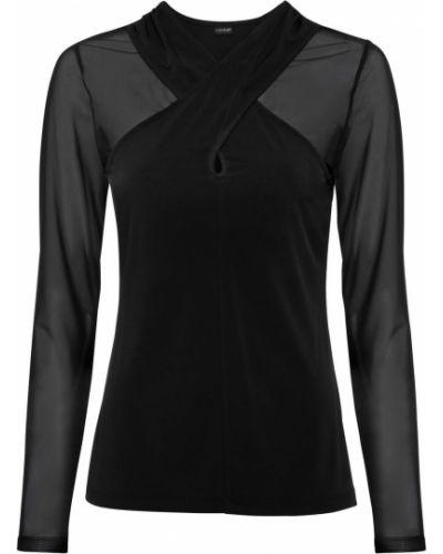 Черная с рукавами блузка прозрачная Bonprix