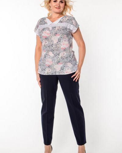 Блузка с коротким рукавом кружевная розовая Virgi Style