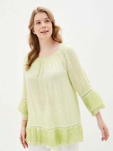 Блузка с длинным рукавом весенний желтый Ulla Popken