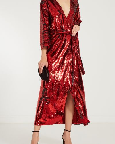 С рукавами красное платье миди с запахом ли-лу