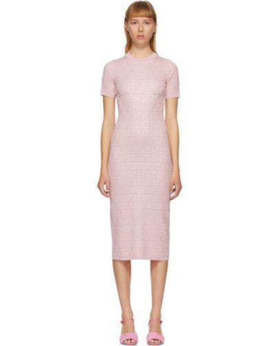 Вязаное розовое платье с воротником с манжетами Fendi