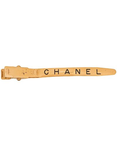 Золотистая желтая заколка позолоченная Chanel Pre-owned