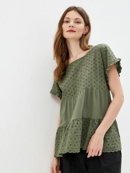 Блузка с коротким рукавом зеленый весенний Perfect J