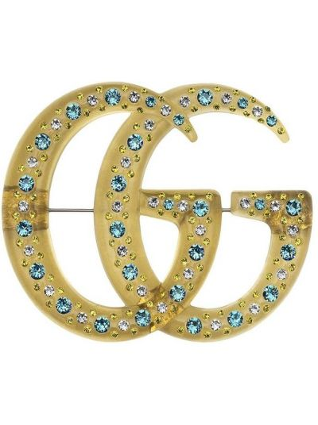 Niebieska złota broszka pozłacana Gucci