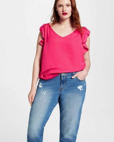 Розовая блузка с коротким рукавом Violeta By Mango
