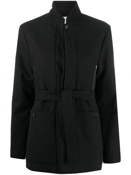 Приталенная ватная черная длинная куртка Stephan Schneider