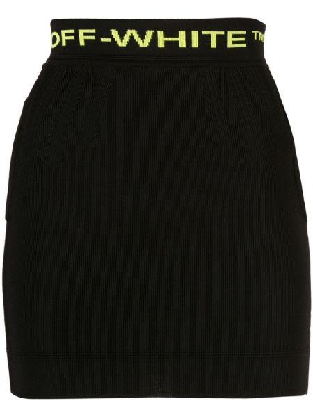 Черная с завышенной талией юбка мини с поясом из вискозы Off-white