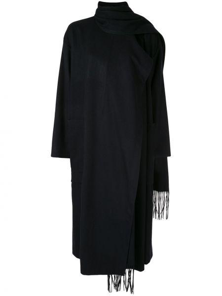 Шерстяное черное длинное пальто с воротником Ujoh