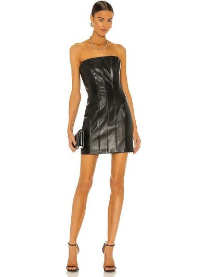 Czarna sukienka mini z jedwabiu miejska Lamarque