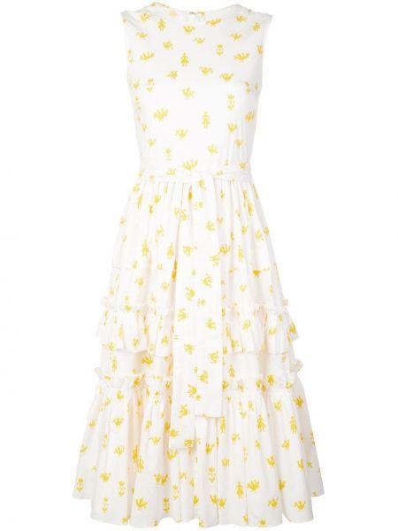 Sukienka z falbankami bez rękawów Carolina Herrera