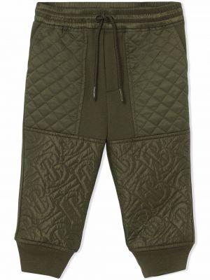 Zielone spodnie bawełniane Burberry Kids