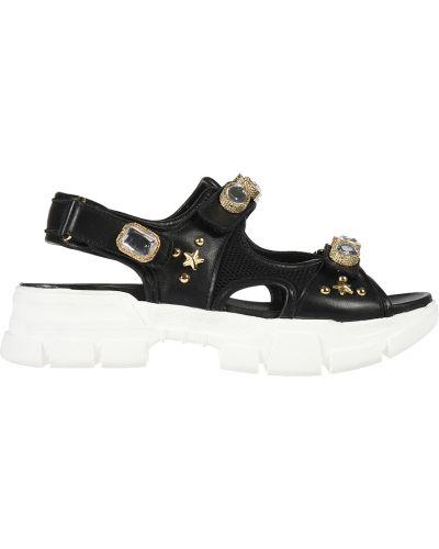 Кожаные сандалии - черные L'estrosa