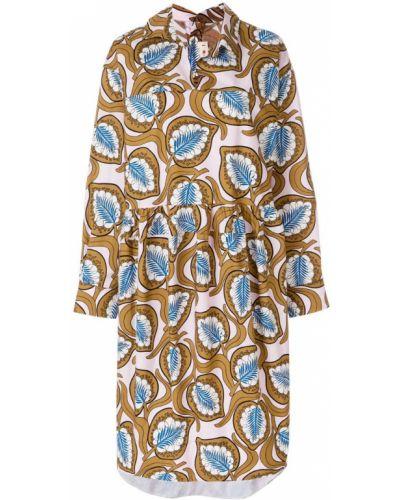 Платье миди оверсайз с V-образным вырезом с длинными рукавами Marni