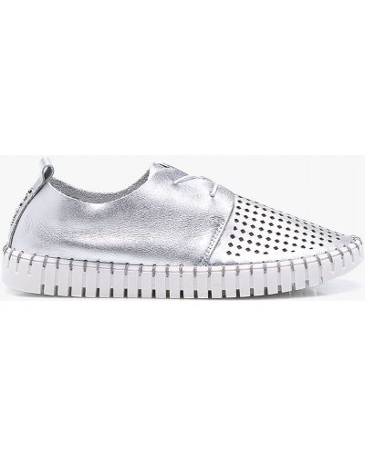 Туфли на шнуровке серебряного цвета Carinii