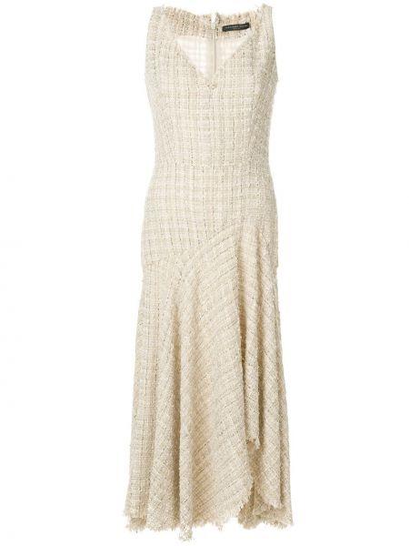 Платье миди с V-образным вырезом на молнии Alexander Mcqueen