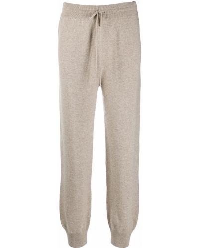 Шерстяные прямые спортивные брюки в рубчик с высокой посадкой Agnona