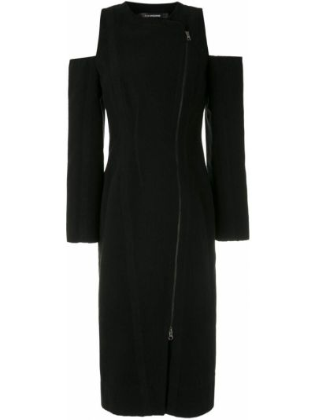 Черное длинное пальто с карманами на молнии à La Garçonne