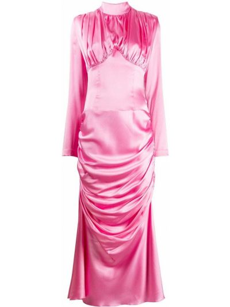 Шелковое розовое платье с рукавами с драпировкой с воротником Matériel