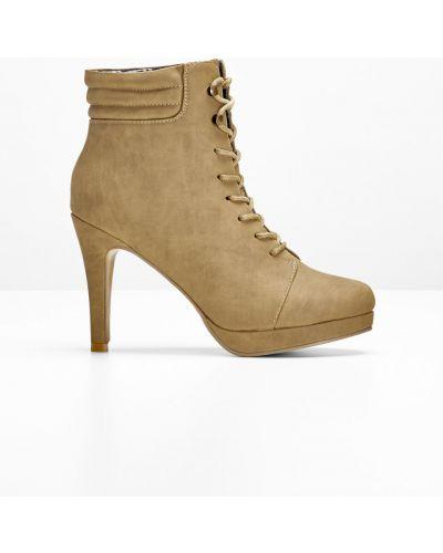 Ботинки на шнуровке коричневый Bonprix