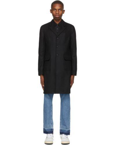 Czarny płaszcz wełniany z długimi rękawami Comme Des Garcons Shirt
