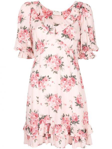 Розовое платье мини с короткими рукавами из вискозы Auguste
